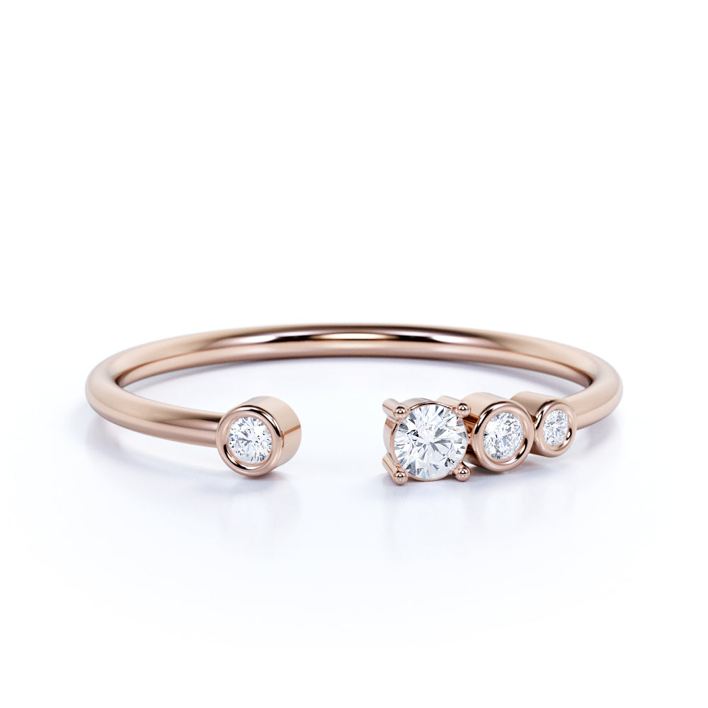Dainty Round Cut Four Stone Authentic Diamond Ring in Rose Gold