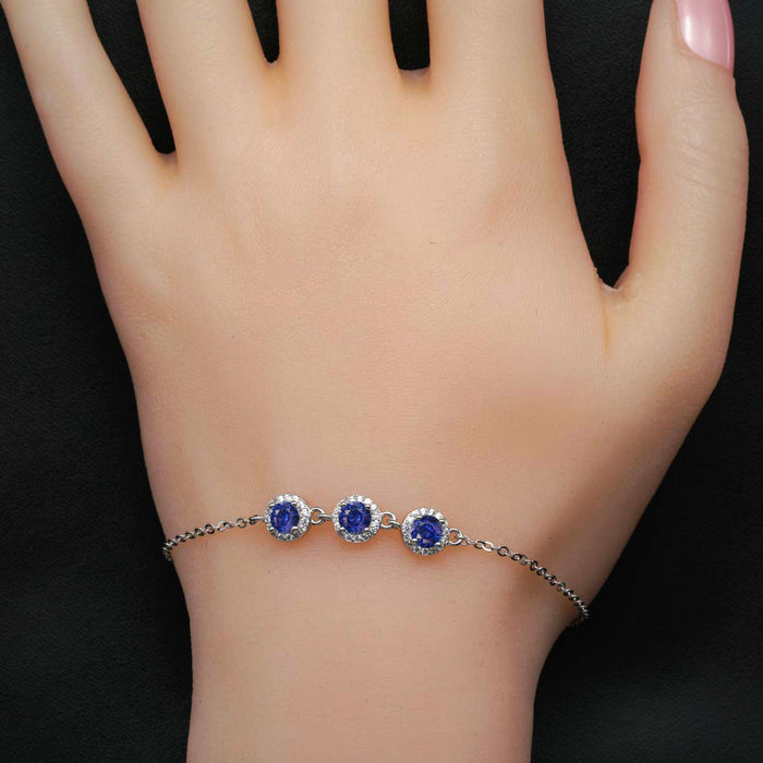 Three Stone 2 Carat Round Cut Diamond Accent Frame and Sapphire Chain Bracelet in White Gold