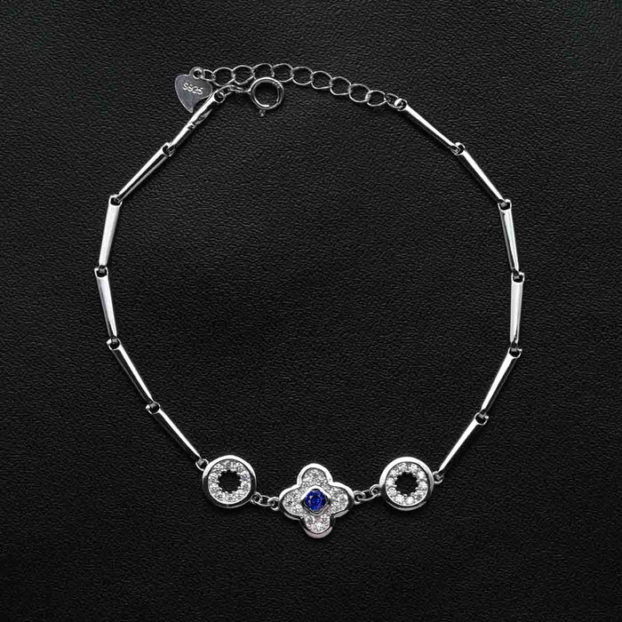 Four Leaf Clover Design .50 Carat Round Cut Diamond and Sapphire Bar Link Bracelet in White Gold