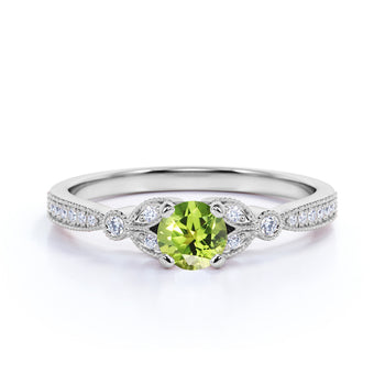 Leaves 1 Carat Round Brownish Green Peridot and Diamond Modern Art Deco Engagement Ring in White Gold