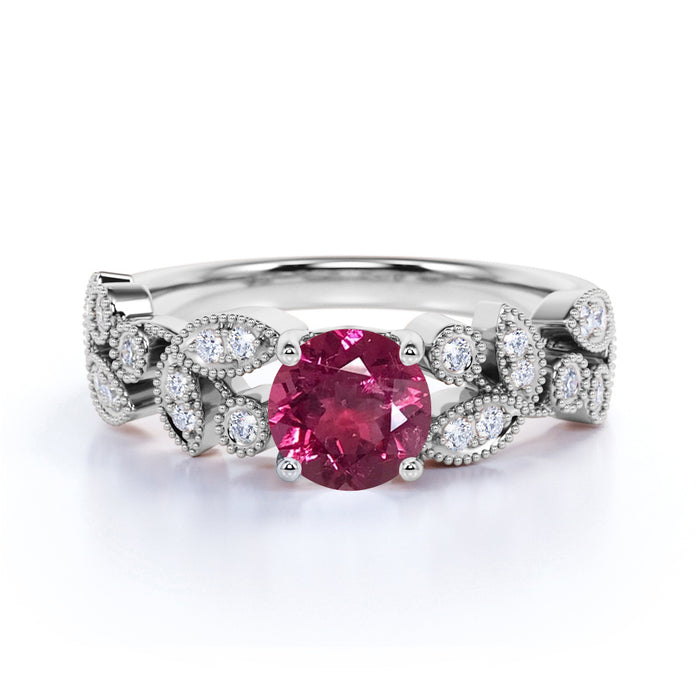 Floral 1.50 Carat Round Strawberry Pink Tourmaline and Diamond Antique Leaf Engagement Ring in White Gold