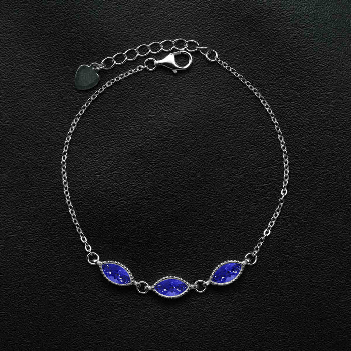 Trilogy 3 Carat Marquise Cut Sapphire Chain Bracelet in White Gold