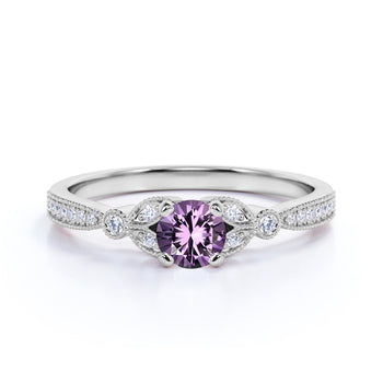 Leaves 1 Carat Round Light Purple Amethyst and Diamond Modern Art Deco Engagement Ring in White Gold