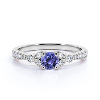 Leaves 1 Carat Round Blue Violet Tanzanite and Diamond Modern Art Deco Engagement Ring in White Gold