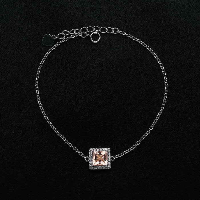 Solitaire Square Shape 1 Carat Diamond Accent Frame and Morganite Link Bracelet in White Gold