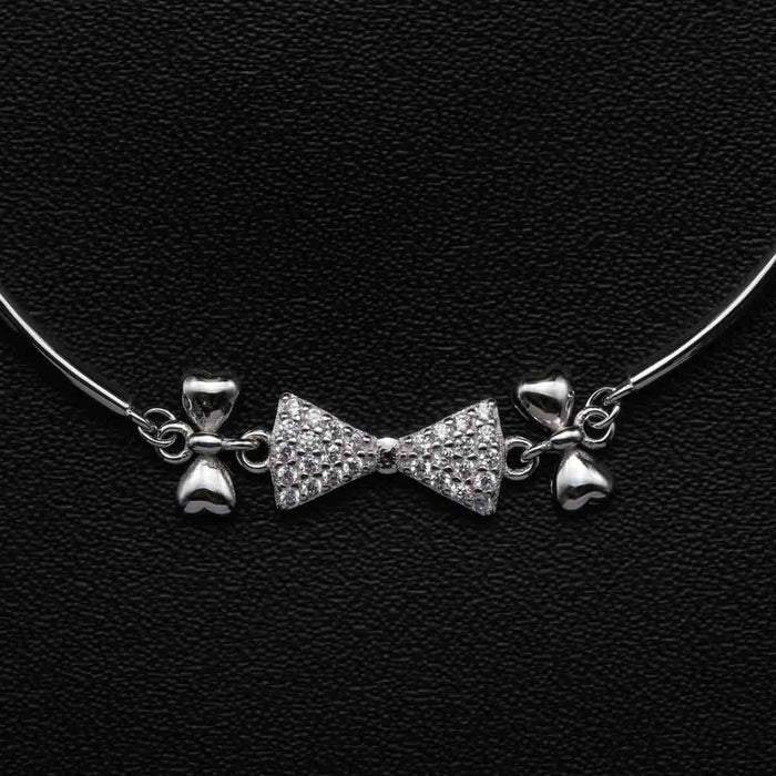 Bow Tie Design 0.25 Carat Round Cut Diamond Bolo Bracelet in White Gold