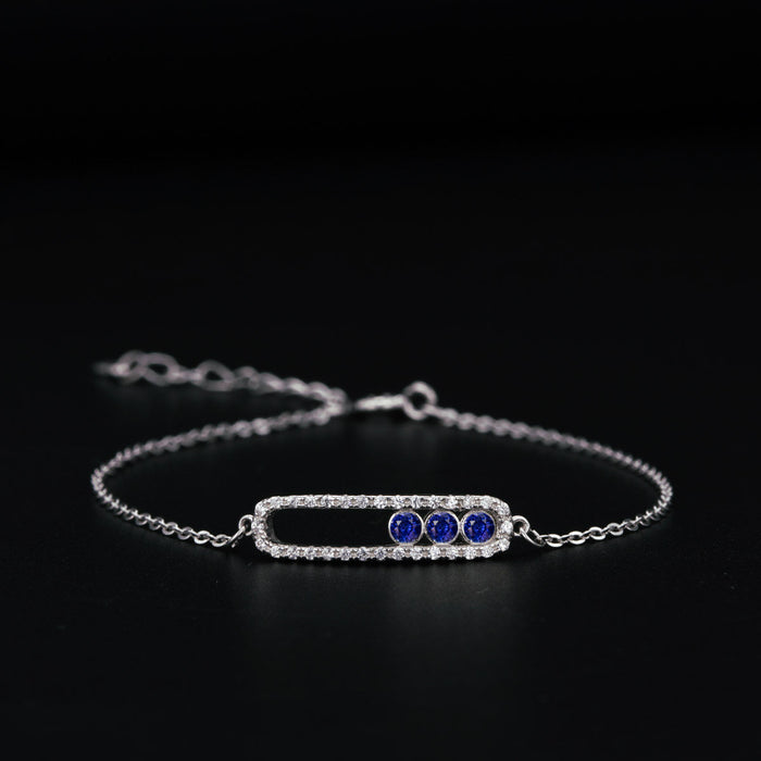 Move Classic Style 0.50 Carat Round Cut Diamond and Sapphire Chain Bracelet in White Gold