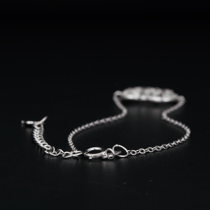Heart Shaped Tree of Life 0.25 Carat Round Cut Diamond Chain Bracelet in White Gold