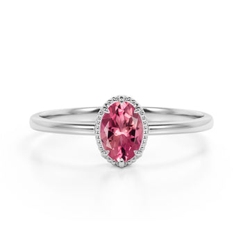 Vintage Inspired 1.50 Carat Oval Peach Pink Tourmaline and Classic 6 Prong Engagement Ring in White Gold