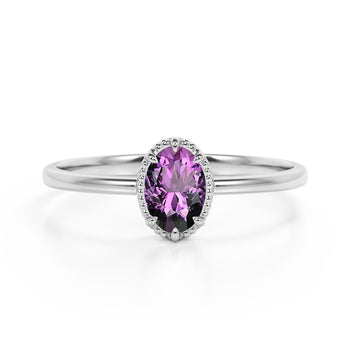Vintage Inspired 1.50 Carat Oval Amethyst and Classic 6 Prong Engagement Ring in White Gold