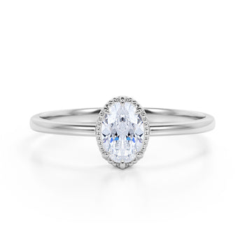 Vintage Style 0.33 Carat Oval Diamond and Classic 6 Prong Engagement Ring in White Gold