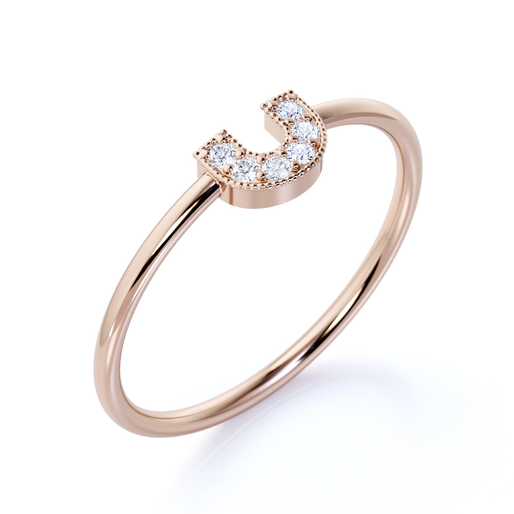 U Shaped Design Round Cut Authentic Diamond and Unique Wedding band in Rose Gold