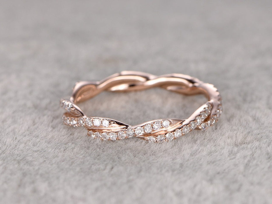 Infinity design .50 Carat Round cut Diamond Wedding Ring Band Wedding Ring Band in Rose Gold