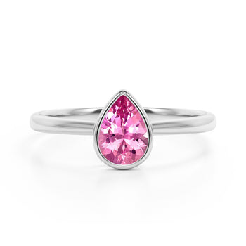 Traditional 1.25 Carat Pear Shaped Champagne Pink Tourmaline and Solitaire Engagement Ring in White Gold
