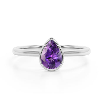 Traditional 1.25 Carat Pear Shaped Amethyst and Solitaire Engagement Ring in White Gold
