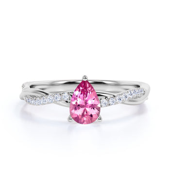 Twisted 1.75 Carat Teardrop Brownish Pink Tourmaline and Diamond Infinity Engagement Ring in White Gold