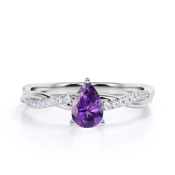 Twisted 1.75 Carat Teardrop Bluish Amethyst and Diamond Infinity Engagement Ring in White Gold