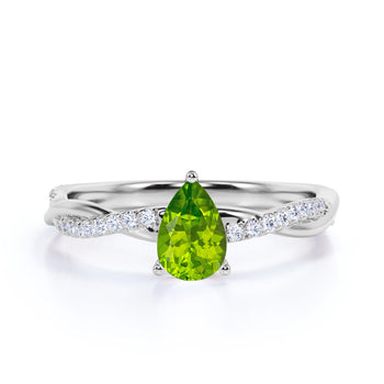 Twisted 1.75 Carat Teardrop Mint Peridot and Diamond Infinity Engagement Ring in White Gold