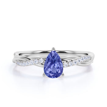Twisted 1.75 Carat Teardrop Lavender Tanzanite and Diamond Infinity Engagement Ring in White Gold