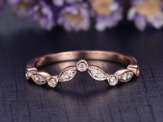 Antique .50 Carat Round cut Diamond Wedding Ring Band artdeco milgrain in Rose Gold
