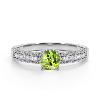 Pave Setting 1.50 Carat European Round Peridot and Diamond Milgrain Engagement Ring in White Gold