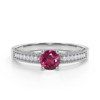 Pave Setting 1.50 Carat European Round Lavender Pink Tourmaline and Diamond Milgrain Engagement Ring in White Gold