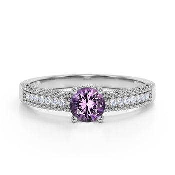 Pave Setting 1.50 Carat European Round Amethyst and Diamond Milgrain Engagement Ring in White Gold