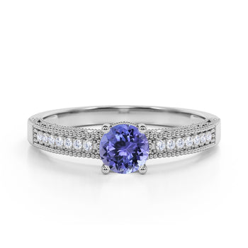 Pave Setting 1.50 Carat European Round Purple Tanzanite and Diamond Milgrain Engagement Ring in White Gold