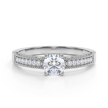 Pave Set 0.50 Carat European Round Cut Diamond and Vintage Milgrain Engagement Ring in White Gold
