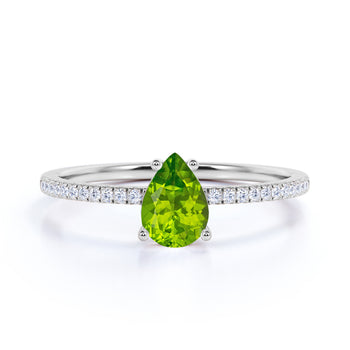 Simple 1.25 Carat Pear Shape Chrysolite Peridot and Fishtail Diamond Engagement Ring in White Gold