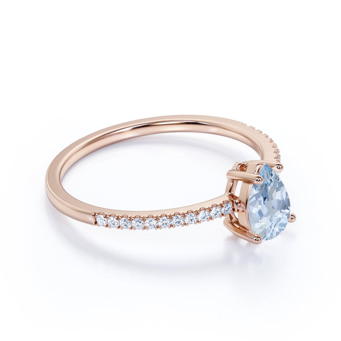 Simple 1.25 Carat Pear Shape Aquamarine and Fishtail Diamond Engagement Ring in Rose Gold