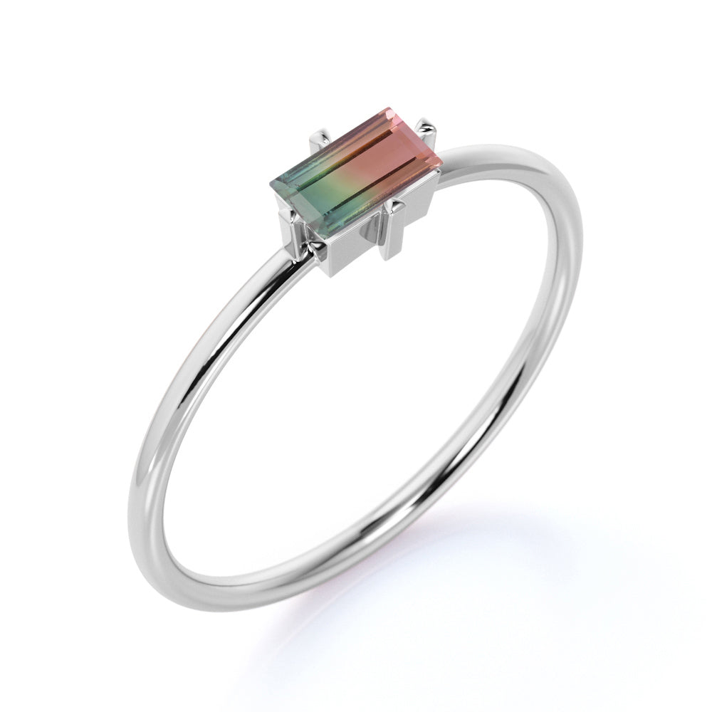 Petite East West 0.50 Carat Emerald Cut Watermelon Tourmaline and 4 Prong Solitaire Engagement Ring in White Gold