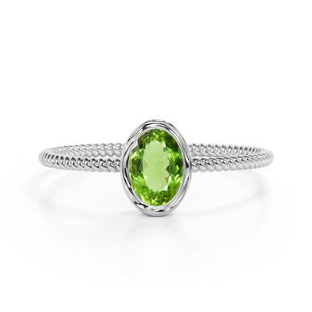 Perfect Bezel Setting 1 Carat Oval Peridot and Twisted Rope Engagement Ring in White Gold