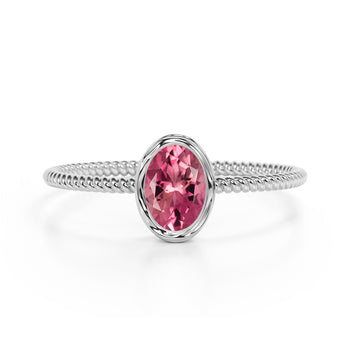 Perfect Bezel Setting 1 Carat Oval Raspberry Tourmaline and Twisted Rope Engagement Ring in White Gold