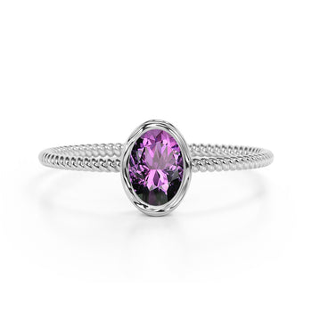 Perfect Bezel Setting 1 Carat Oval Amethyst and Twisted Rope Engagement Ring in White Gold