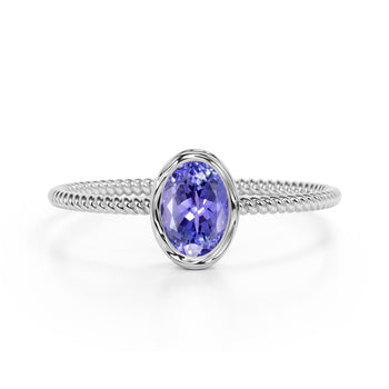Perfect Bezel Setting 1 Carat Oval Blueberry Tanzanite and Twisted Rope Engagement Ring in White Gold