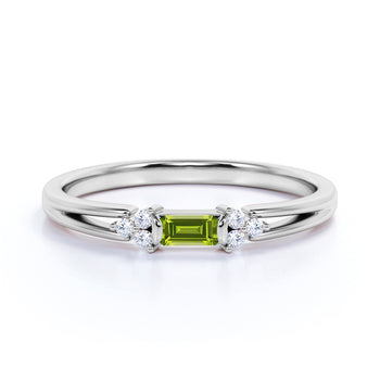 Split Shank 1 Carat Baguette Extraterrestrial Peridot and 7 Stone Diamond Engagement Ring in White Gold