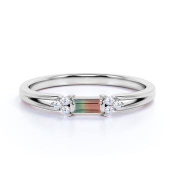 Split Shank 1 Carat Baguette Multicolor Tourmaline and 7 Stone Diamond Engagement Ring in White Gold