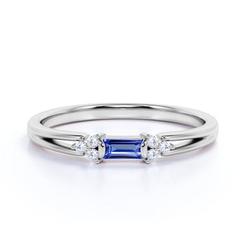 Split Shank 1 Carat Baguette Purple Tanzanite and 7 Stone Diamond Engagement Ring in White Gold
