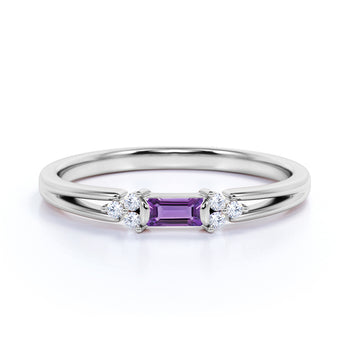 Split Shank 1 Carat Baguette Enhydro Amethyst and 7 Stone Diamond Engagement Ring in White Gold