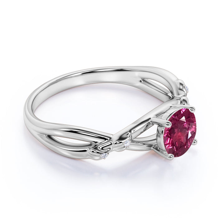 Twisted Twig 1.35 Carat Round Burmese Tourmaline and Diamond Infinity Engagement Ring in White Gold