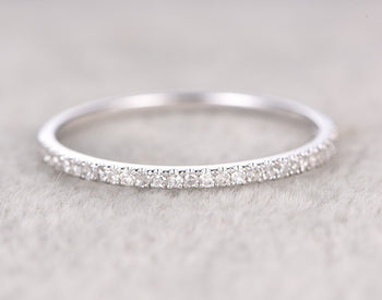 .25 Carat semi eternity Wedding Ring Band for Women in White Gold
