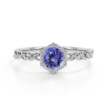 Chain Design 1.25 Carat Round Brilliant Cut Peacock Tanzanite and Best Solitaire Engagement Ring in White Gold