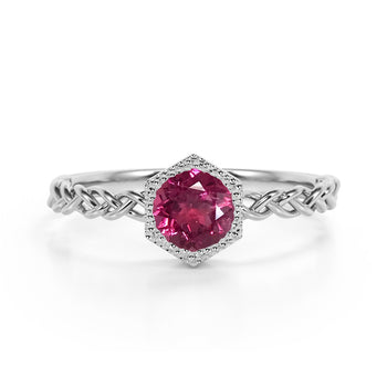 Chain Design 1.25 Carat Round Brilliant Cut Reddish Tourmaline and Best Solitaire Engagement Ring in White Gold