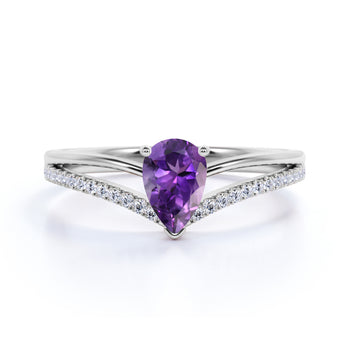 Contoured 1.50 Carat Teardrop Electroplated Amethyst and Split Shank Diamond Engagement Ring in White Gold