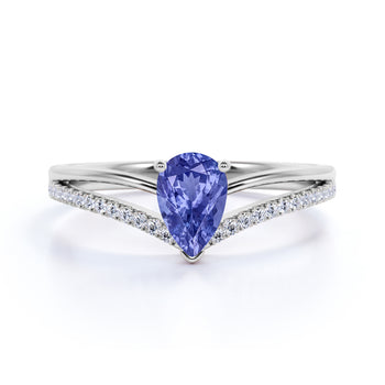 Contoured 1.50 Carat Teardrop Blueberry Tanzanite and Split Shank Diamond Engagement Ring in White Gold