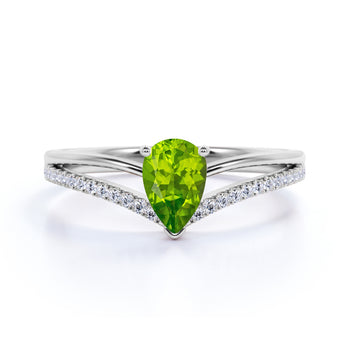 Contoured 1.50 Carat Teardrop Matrix Peridot and Split Shank Diamond Engagement Ring in White Gold