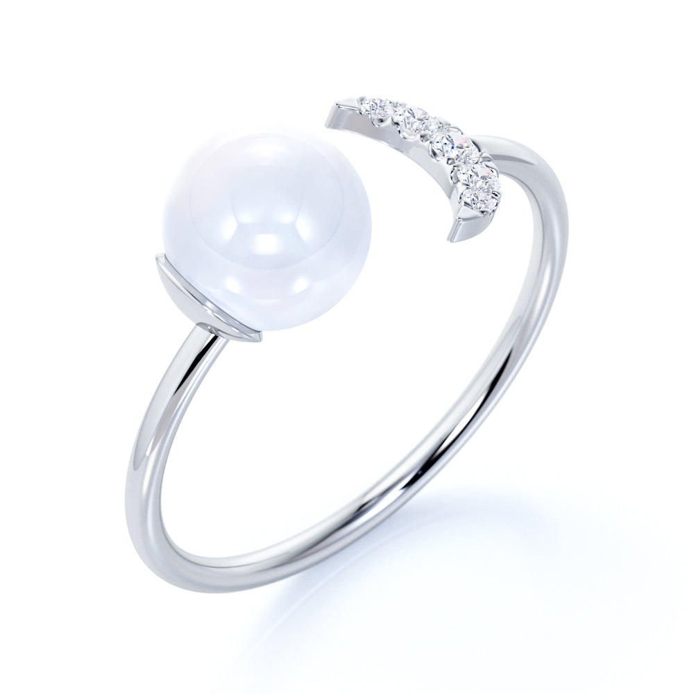 Best Design Brilliant Round Pearl Tiny Crescent Moon and Authentic Diamond Stackable Ring Band in White Gold