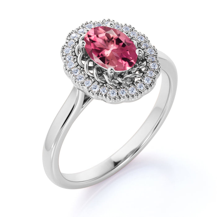 Twist Curl 2.50 Carat Ovoid Shape Rose Tourmaline and Diamond Halo Huge Engagement Ring in White Gold