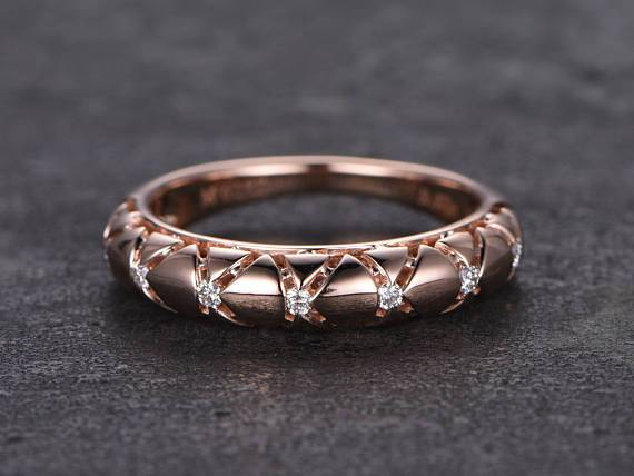 Designer .10 Carat Round cut Diamond Wedding Ring Band for Her in Rose Gold